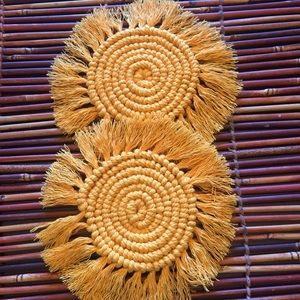 None Accents - Golden Yellow Macrame Coasters Set of 2